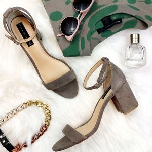 Taupe Suede Ankle Strap Low Block Heel Sandals